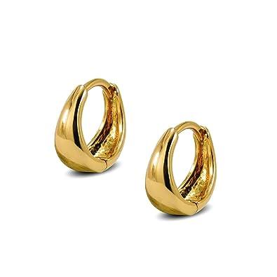 Blue Diamond Club - Pair Mens Huggie Hoop Earrings 18ct Gold Filled Small Huggies p2OxzlH