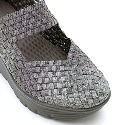 Légères Femme Caf Élastiquées Noir Es922 Sandales Compensées Peltrogrigio Chaussures zSY8Sqwv