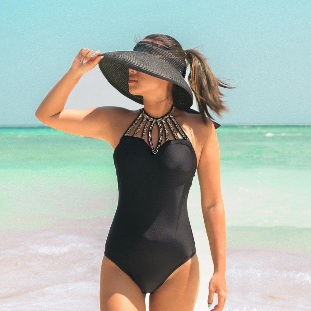 Yonique One Piece Halter High Neck Hollow Out Monokini Swimsuit Tummy Control Bathing Suit Black