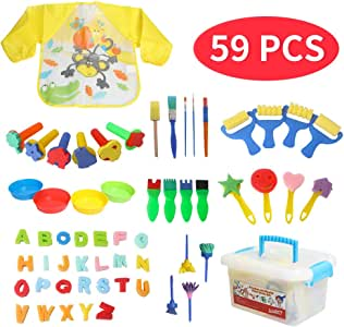 47pcs Art and Craft Painting Sponges Stamper Mini Paint Brushes Kit with 26 Alphabets Early Learning Drawing Tools