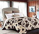 Regal Comfort Sherpa Luxury Throw Western Style Cow Print (Queen, Rodeo)