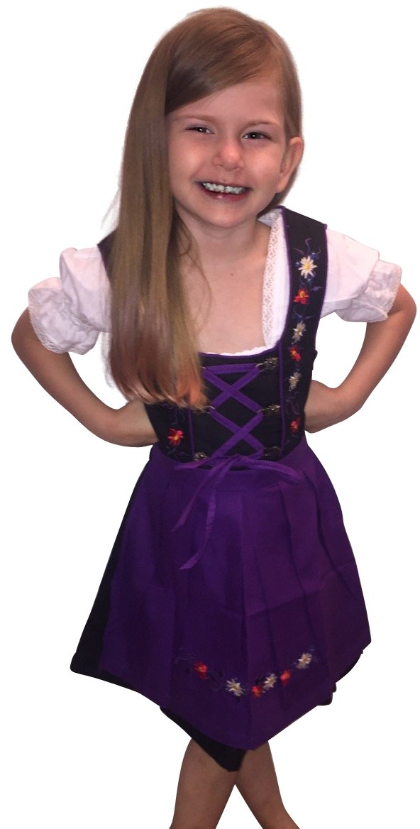 Children-s Dirndl Dik02 3 pcs. Size 12, Oktoberfest Dirndel-s for Girl-s, Toddler Child Kids Dress-ES Blouse- Apron- Costume-s Purple