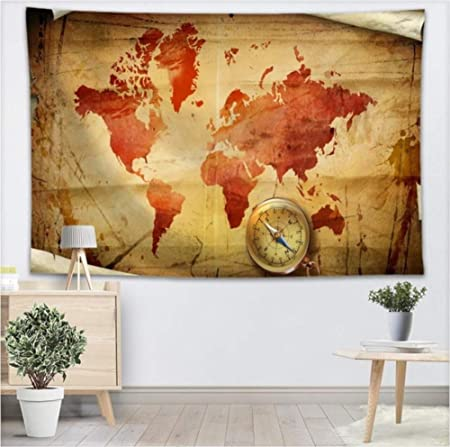 YUYINGXIANG Brújula Mapa del Mundo Tapiz de Pared Decoración ...