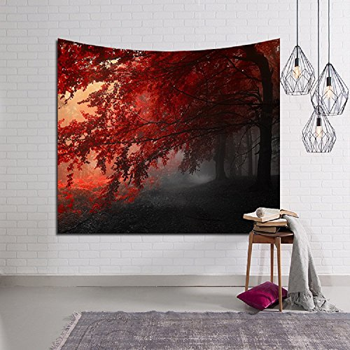 - Oyeahbridal Forest Tapestry Wall Tapestry Wall Hanging Red Maple Tree Tapestry Sunlight Misty Tapestry Mandala Tapestries for Living Room Bedroom Dorm Decor(02,(51x60Inches))