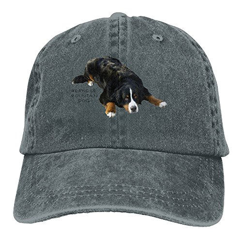 Richard Bernese Mountain Dog Rug Pose Sweat Unisex Cotton Washed Denim Leisure Caps Hats Adjustable Asphalt