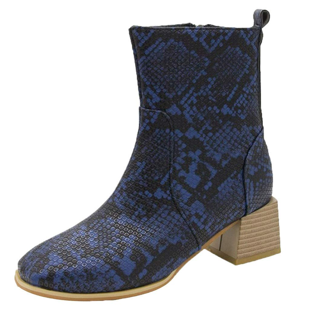 Dermanony Womens Serpentine Ankle Boots Winter Fur Lining Warm Boots Zipper Square Heel Leather Boots Thick Heel Shoes Blue by Dermanony _Shoes
