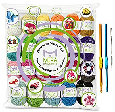 Premium Value Yarn Pack - 24 Acrylic Yarn Skeins - Assorted Colors - Perfect for Any Crochet and Knitting Mini Project - Resealable Bag - 6 FREE GIFTS with Each Pack