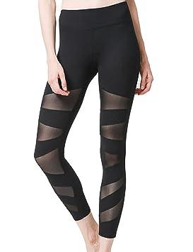 GFYDC Malla asimétrica para yoga, pantalón de malla ...