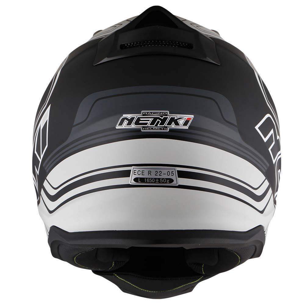 Medium, Black White Matt NENKI NK-313 Adventure Dual Sport Enduro Helmets ECE Approved With Sun Visor