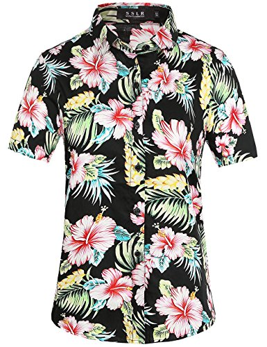 SSLR Womens Button Down Causal Short Sleeve Aloha Hawaiian Shirt