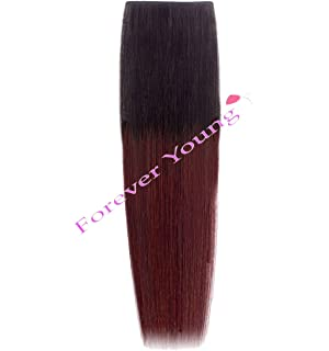 Dark plum clip in hair extensions 20 full head amazon forever young 18 dip dye ombre clip in remy human hair extensions natural black pmusecretfo Images