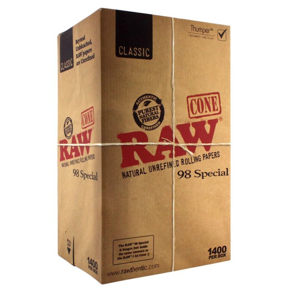 1400 Raw Classic 98 Special Pre Rolled Cones - Includes a TSC Sticker