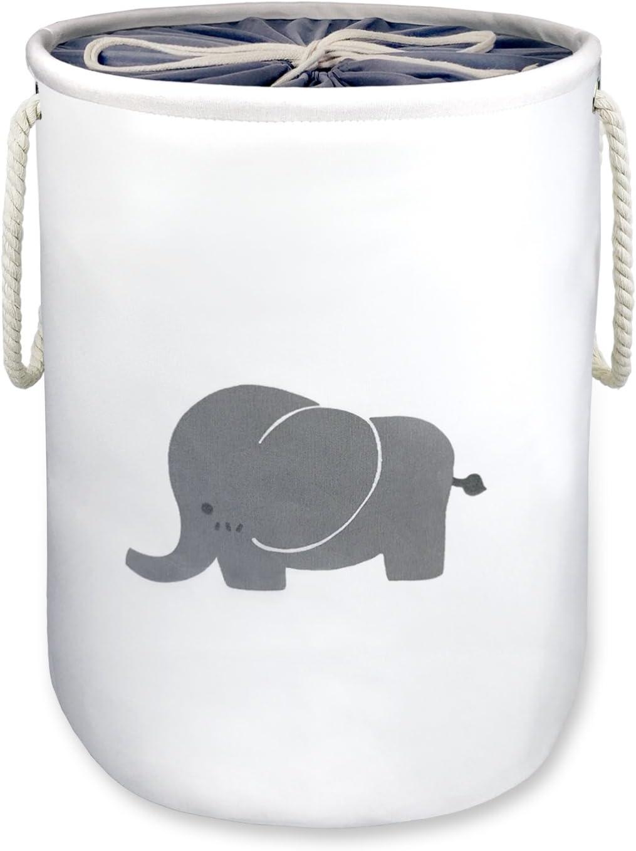 "Laundry Basket,Elephant Basket Nursery,OD16""x H20 Storage Basket,Washing Basket,Decorative Jumbo Barrel Cotton Organizer Container/Toy Bin/Laundry Hamper,Collapsible &Dual Handles(X-Large with cover)"