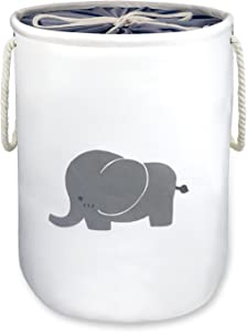 "Laundry Basket,Elephant Basket Nursery,OD16""x H20 Storage Basket,Washing Basket,Decorative Jumbo Barrel Cotton Organizer Container/Toy Bin/Laundry Hamper,Collapsible &Dual Handles(X-Large with cover)"