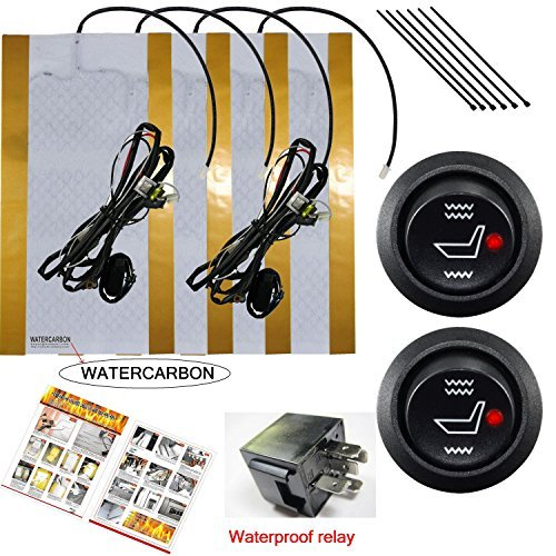 WATERCARBON Water Carbon 12V Premium Heated Seat Kits for Two Seats Universal, Electronic Equipment, Dual Settings ()
