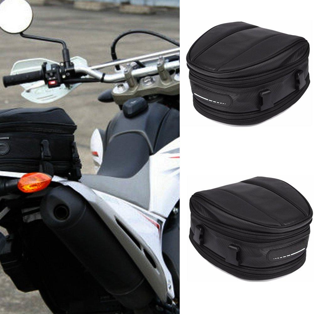 /sella borsa da sella per moto, impermeabile sedile posteriore Carry bagagli borsa da sella bici portapacchi posteriore bisaccia nero, nero EMVANV