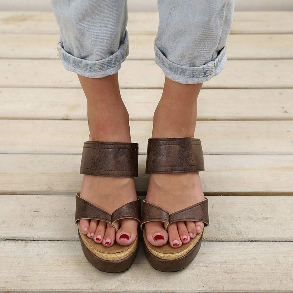Wobuoke Fashion Womens Casual Open Toe Breathable Beach Sandals Rome Flip Flops Wedges Shoes