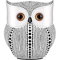 kikitoy Owl Statue Home Decor Accents (White),Small Crafted owl Figurine for Home Decorations, Living Room Bedroom…