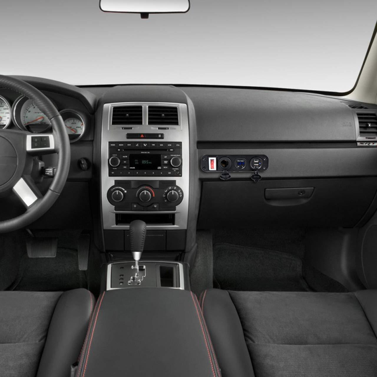 ACBungji Caricatore Dual USB 12 V presa LED voltmetro per 12 V 24 V auto barca marina auto camion moto RV SUV UTV ATV veicoli GPS cellulare 3 fori Panel con interruttore 3 in 1 blu voltmetro