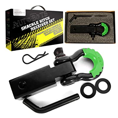 "AUTOBOTS Shackle Receiver 2"", 35,000 Lbs Break Strength Heavy Duty Receiver with 5/8\"" Screw Pin, 3/4 Shackle, Towing Accessories for Jeep Vehicle Recovery Off-Road, Black&Green: Automotive [5Bkhe1008769]"