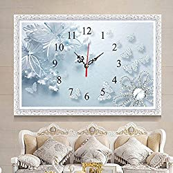 New 5D DIY Full Diamond Painting Kit Diamond Crystal Clock Embroidered Design Handmade Rhinestone Cross Stitch Wall Clock Modern Blue Flower Living Room Home Decor,Without Frame