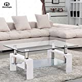 dining tables for sale New Rectangular Glass Coffee Table Shelf Chrome White Wood Living Room Furniture