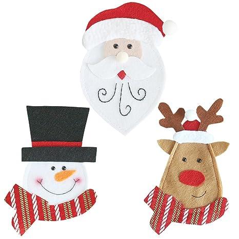 OUNONA 6pcs Navidad Silverware Soportes, Cuchillo y Tenedor Bolsa para Navidad Cocina/Vajilla/Navidad Hogar Fiesta Boda Decoración: Amazon.es: Hogar