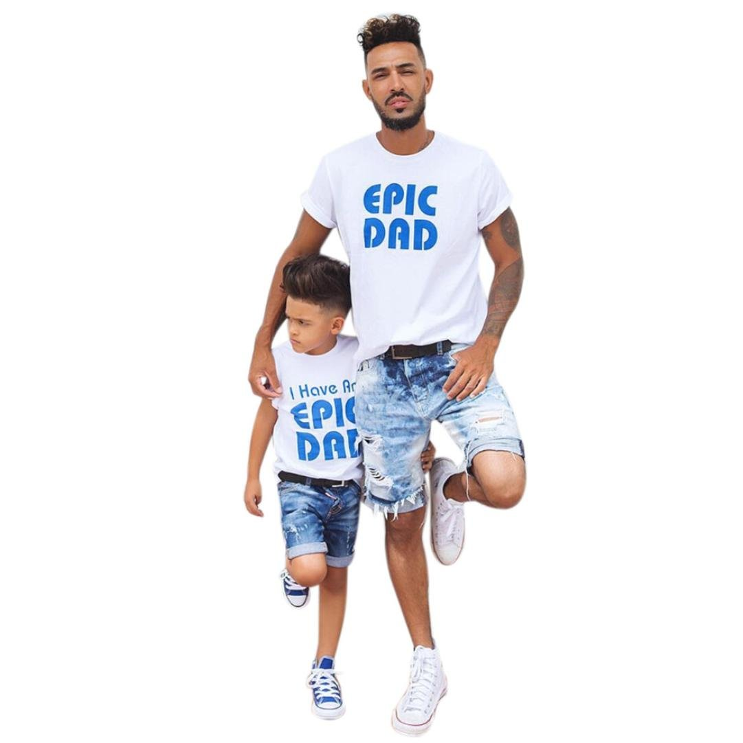 0acd9111074a Amazon.com  Sunward Daddy and Me Men Short Sleeve I Have An Epic Dad Epic  Dad Letter T shirt Blouse Tops Family Clothes Outfits  Clothing