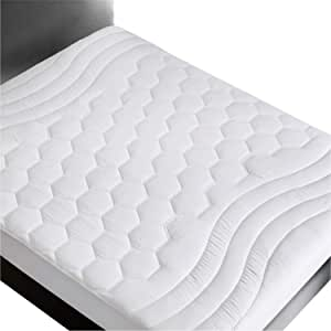Bedsure Mattress Pad Queen Size(60x80 inches)- Breathable - Ultra Soft Quilted Mattress Pad Protector Deep Pocket(up to 18'' deep), Fitted Sheet Mattress Cover-White