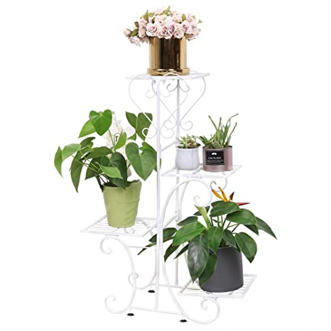 XCO XX Flower Racks Plant Flower Display Stand 2 Layer Wrought Iron Floor Flower Pot Rack Balcony Indoor Outdoor Flower Pot Rack Plant Frame