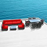 Luxxella Outdoor Patio Bella 14 Pcs Modern Red Furniture All Weather Wicker Couch Sofa Set Review