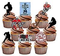 Vater s Day Eishockey Themed Kuchen Dekorationen, essbar Stand-up Cup Cake...