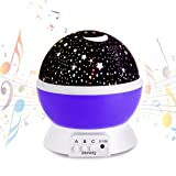 Night Light Lamp with 12 Soft Musical Star Lighting Lamp Projector 4 beads 360 Degree Romantic Lamp Relaxing Mood Baby Nursery Bedroom Children Room Christmas Gift Purple