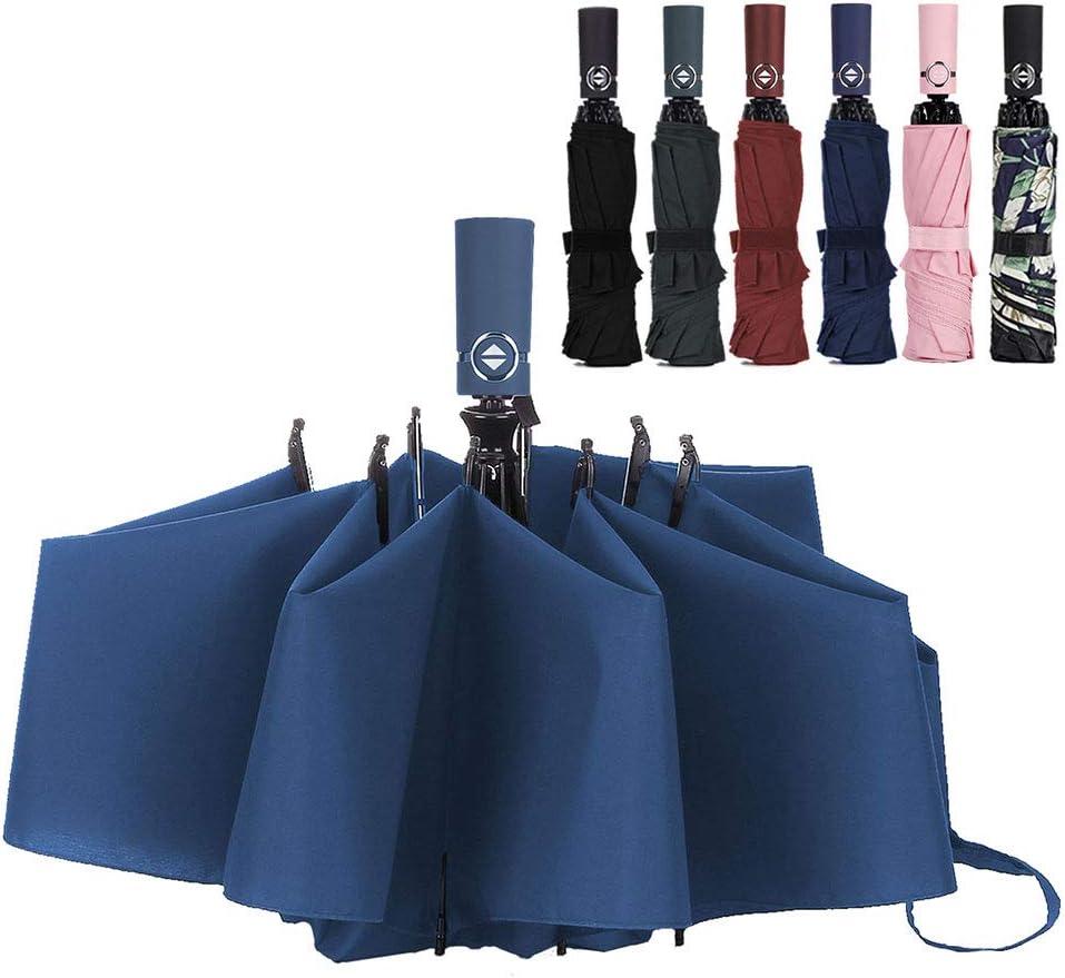 NOVECASA Paraguas Inverso Plegable Abrir y Cerrar Automático a Prueba de Viento para Viajar y mas Conveniente para Entrar en el Coche (Azul Marino)