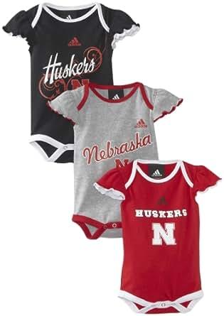 NCAA Nebraska Cornhuskers Newborn 3 Piece Body Suit Set (Red, 0-3Mo)