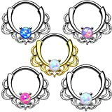 LOVFASH 5PCS Nose Ring Septum Piercing Jewelry, Opal Fake Septum Clicker Nose Ring for Women Non Piercing Clip On Body Piercing Jewelry