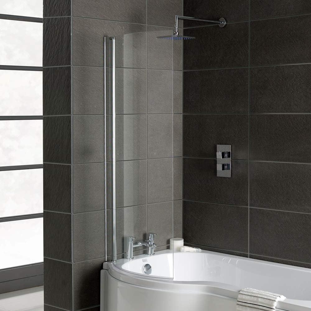 Home Standard® - Mampara de baño Curvada cromada para bañeras en Forma de P, Cristal Transparente de 6 mm, 695 mm x 1400 mm: Amazon.es: Hogar