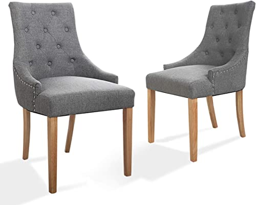 Sandinrayli Dining Chair Accent Chair Tufted Pattern Solid Wood Wingback Accent Dining Hostess Chairs