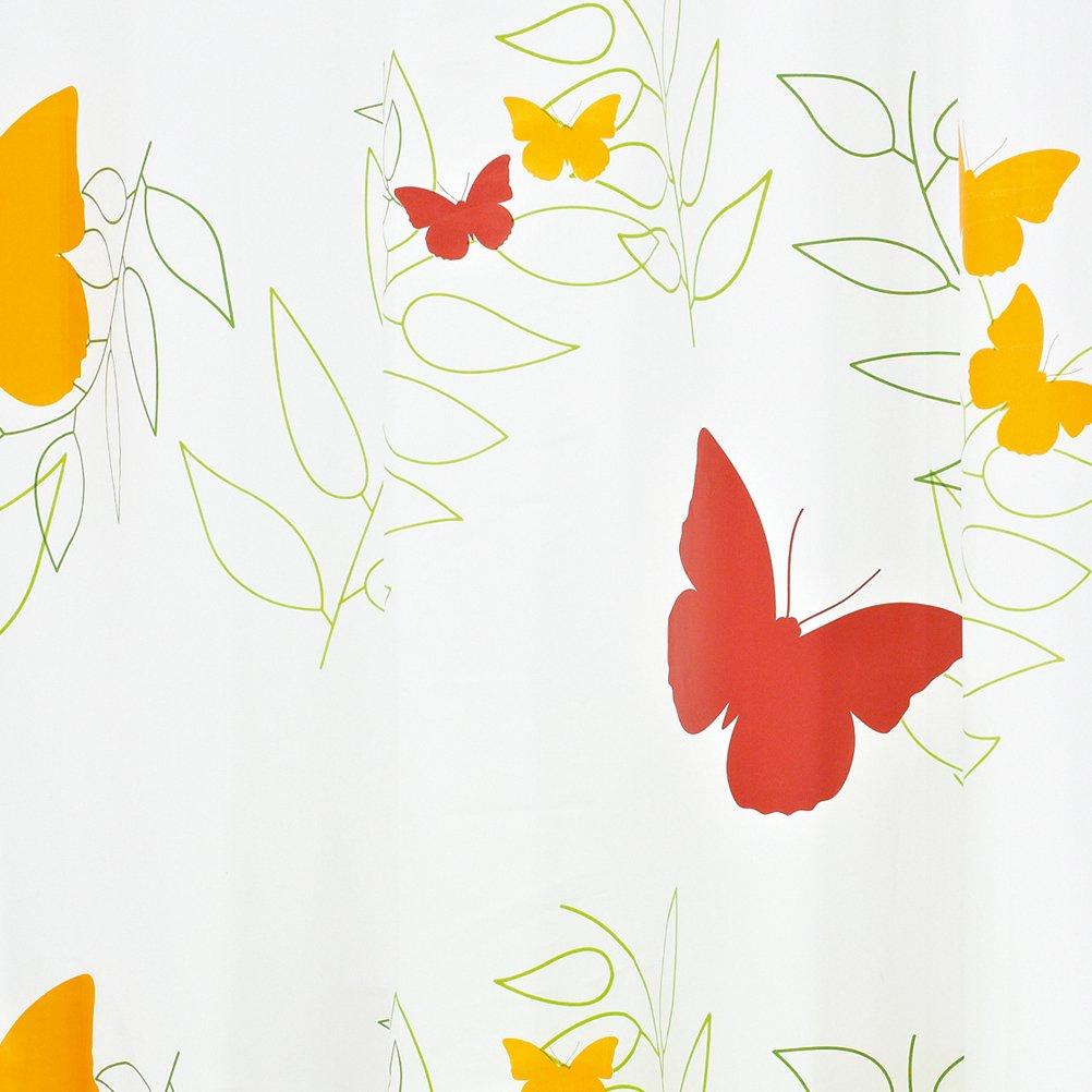 180 x 200 cm Decorazione: Farfalle Ridder 326040-350 Anelli Inclusi Tenda da Doccia Folie Colore: Arancio