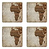 Ambesonne African Coaster Set of Four, Geography Theme Grunge Vintage Wooden Plank and Africa Map Digital Print, Square Hardboard Gloss Coasters for Drinks, Tan Umber and Brown