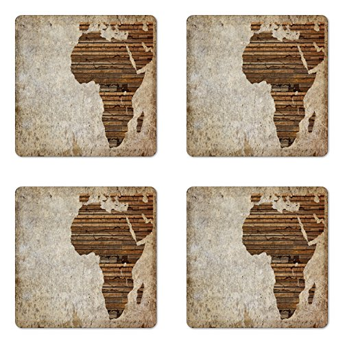 Ambesonne African Coaster Set Four, Geography Theme Grunge Vintage Wooden Plank Africa Map Digital Print, Square Hardboard Gloss Coasters Drinks, Tan Umber Brown
