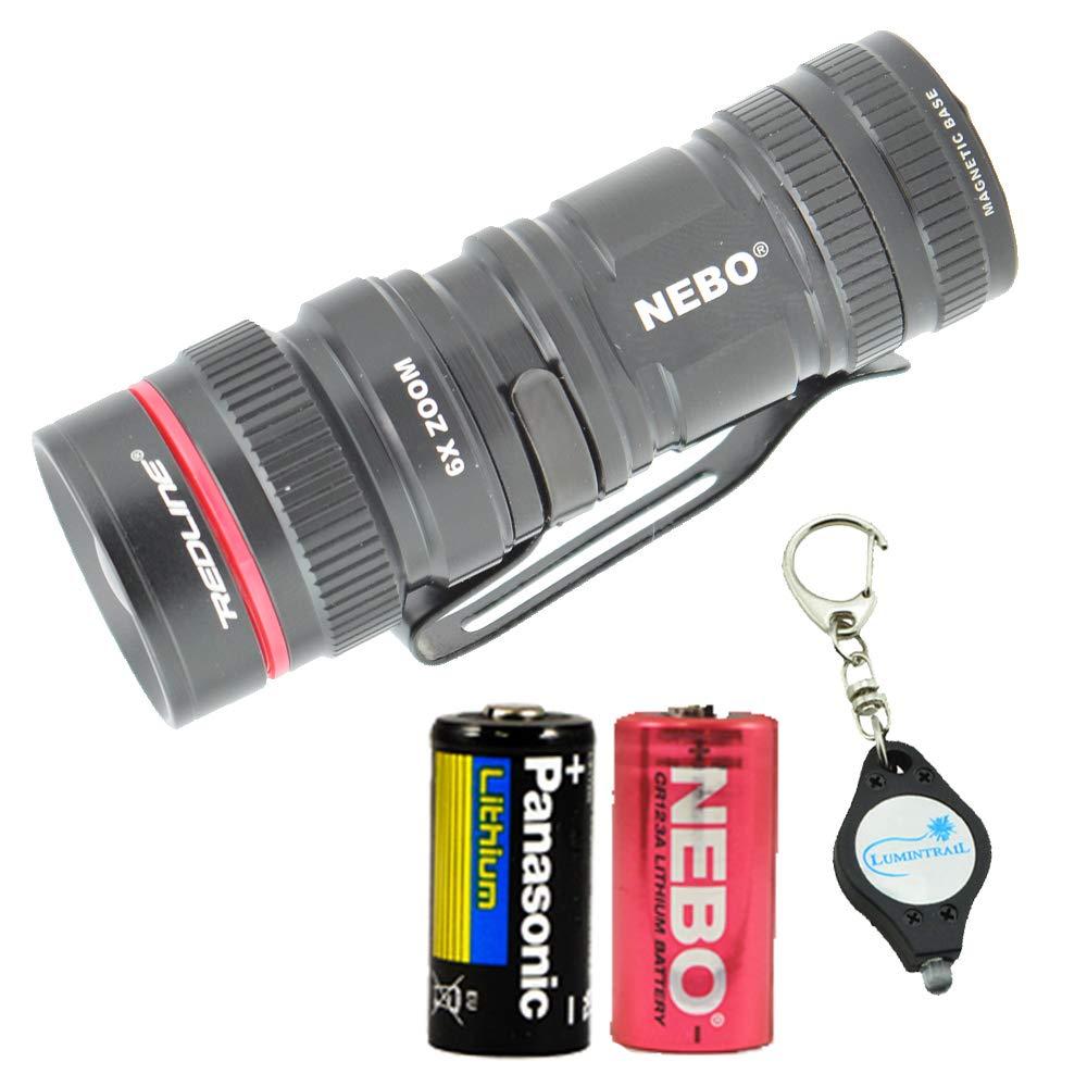 NEBO Micro Redline 360 LUX LED Mini Flashlight with Magnetic Base Plus Extra Energizer CR123 Battery and Lumintrail Keychain Light