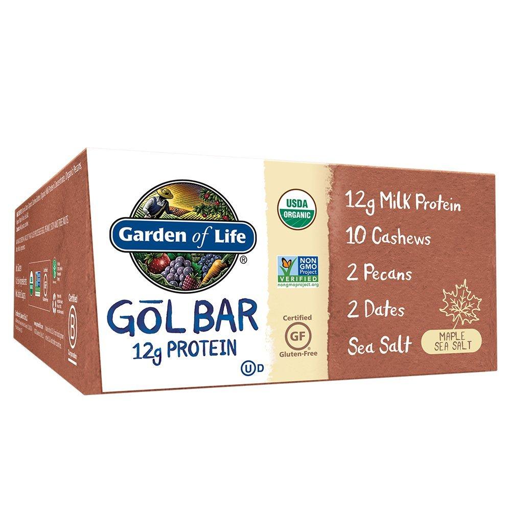 Garden of Life Organic GOL Bars - Chewy High Protein Whole Food Bar - Maple Sea Salt (12 per Carton)   Certified Organic, Non-GMO & Gluten Free, No Gluten, No Added Sugar - 12g Milk Protein by Garden of Life
