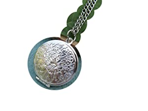 Flower Locket Necklace Antique Jewelry Steampunk Gift,ancient Silver ,5 pcs