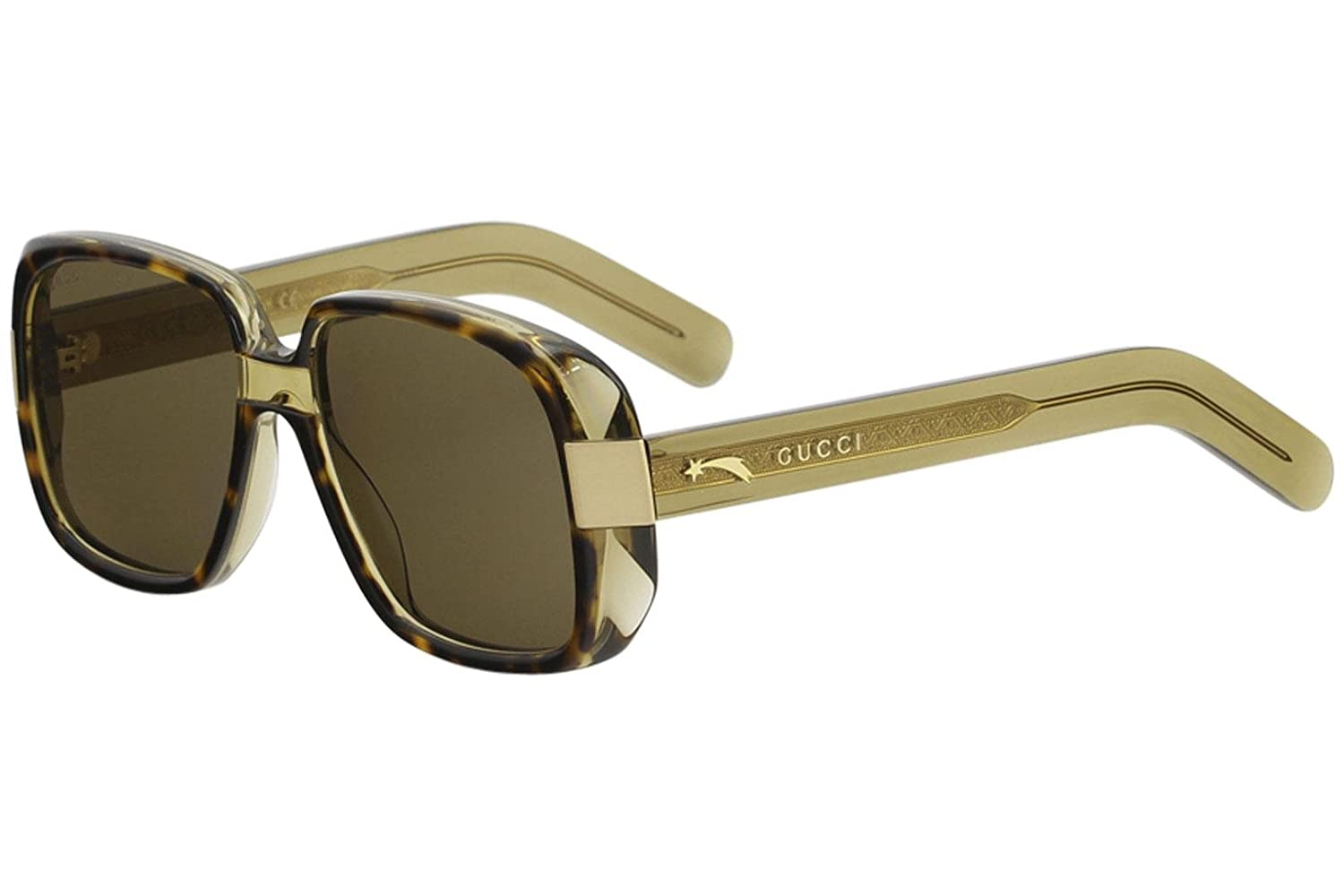 9b590746667 Amazon.com  Gucci GG0318S 002 Havana Green Plastic Rectangle Sunglasses  Brown Lens  Clothing