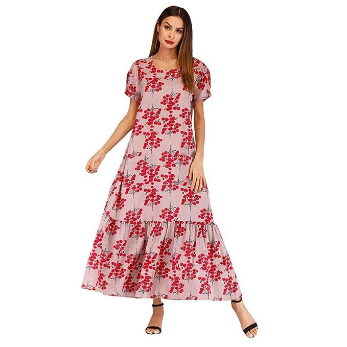 ccdc49c75c731 Amazon.com: Weyun Women Vintage Retro Short Sleeve Print Party Dress ...