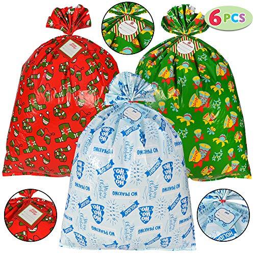 6 Pieces Christmas Giant Goody Gift Bags, Jumbo Size 43