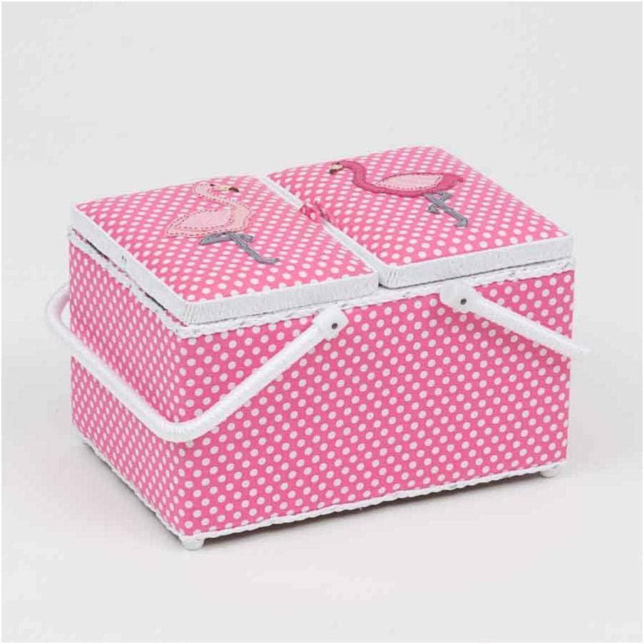 HobbyGift Classic Twin Lid Rectangular Box Applique Flamingos
