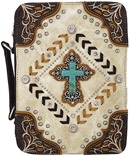 - Western Style Country Bible Cover Weave Embroidered Floral Books Case Cross Extra Strap Messenger Bag (Beige)