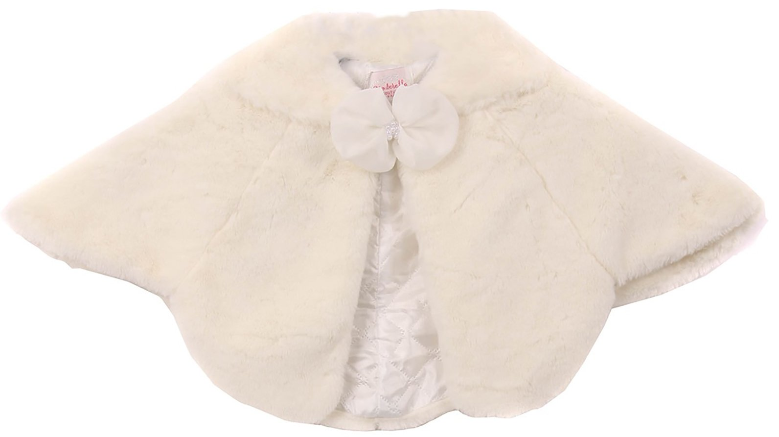 Super Soft Poncho Cape Fur Coat Quilted Lining Sailor Collar for Little Girl Ivory M 3012